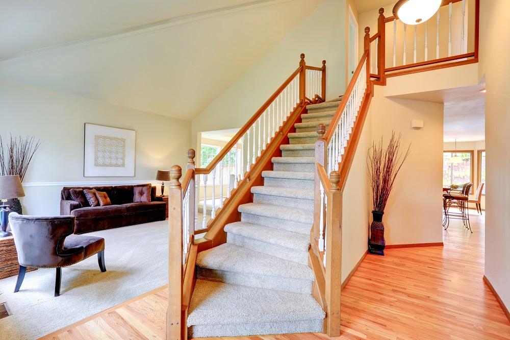 vacuumed clean carpeted stairs